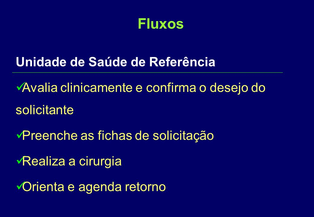 FluxosFluxos Unidade de Saúde Avalia se o solicitante está dentro dos critérios ( SMS,MS ) Solicita os exames pré-operatórios Encaminha p/serviço de referência com impresso próprio