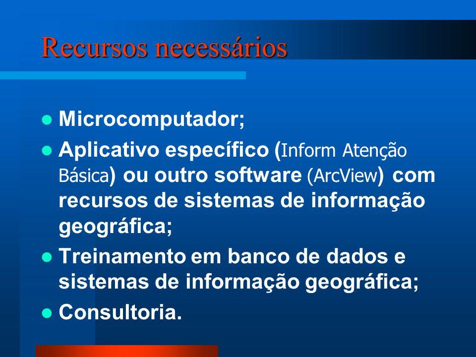 Recursos necessários Microcomputador; Aplicativo específico ( Inform Atenção Básica ) ou outro software (ArcView ) com recursos de sistemas de informação geográfica; Treinamento em banco de dados e sistemas de informação geográfica; Consultoria.