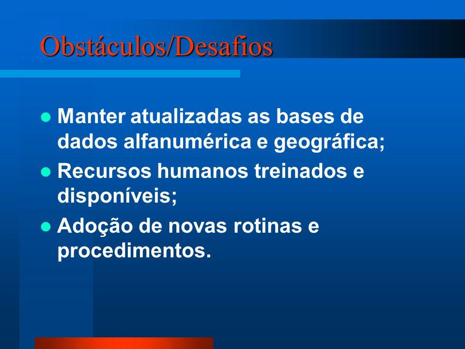 Obstáculos/Desafios Manter atualizadas as bases de dados alfanumérica e geográfica; Recursos humanos treinados e disponíveis; Adoção de novas rotinas e procedimentos.
