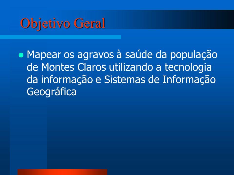 Objetivo Geral Mapear os agravos à saúde da população de Montes Claros utilizando a tecnologia da informação e Sistemas de Informação Geográfica