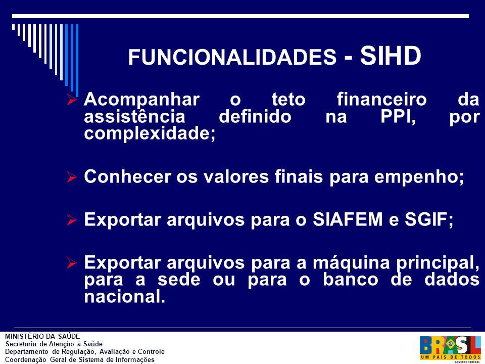 FUNCIONALIDADES - SIHD Acompanhar o teto financeiro da assistência definido na PPI, por complexidade; Conhecer os valores finais para empenho; Exportar arquivos para o SIAFEM e SGIF; Exportar arquivos para a máquina principal, para a sede ou para o banco de dados nacional.
