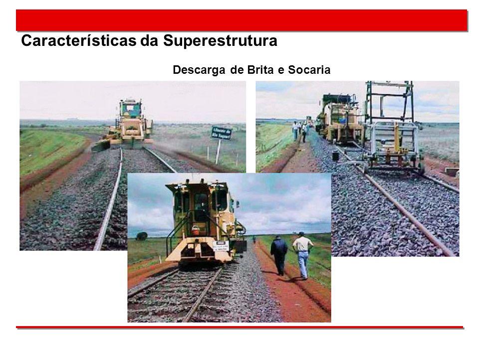 Características da Superestrutura Descarga de Brita e Socaria