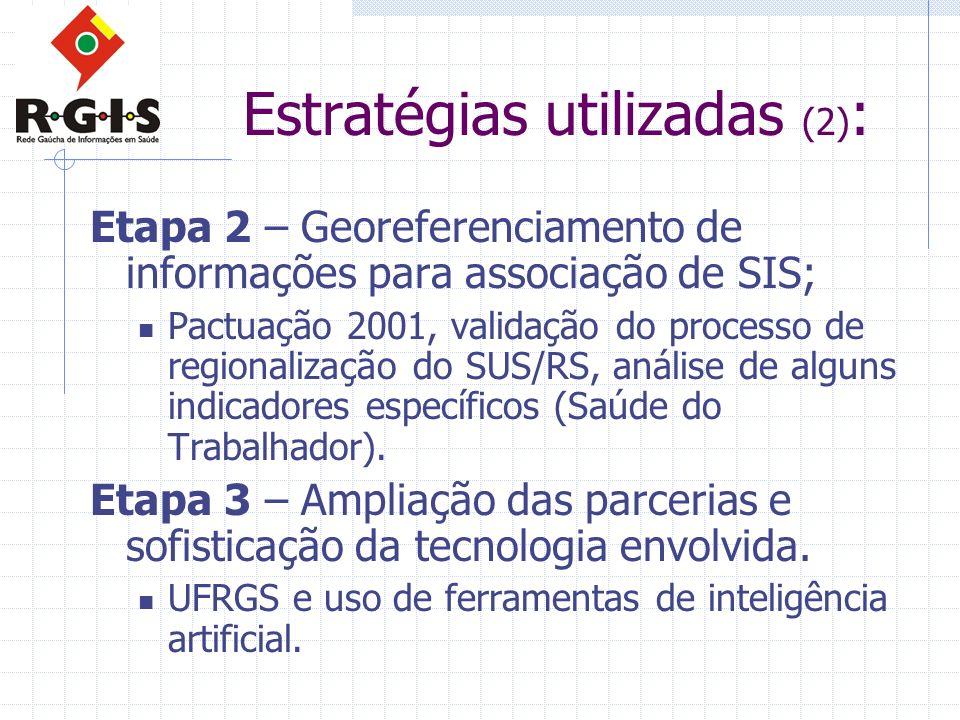 Estratégias utilizadas (2) : Etapa 2 – Georeferenciamento de informações para associação de SIS; Pactuação 2001, validação do processo de regionalizaç