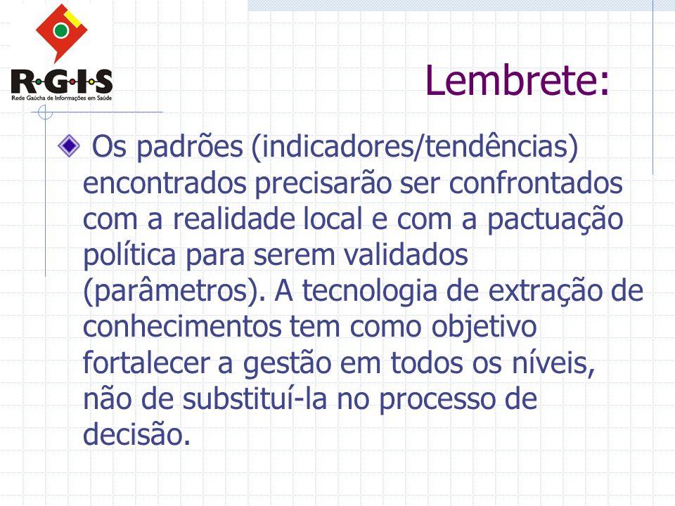 Lembrete: Os padrões (indicadores/tendências) encontrados precisarão ser confrontados com a realidade local e com a pactuação política para serem vali
