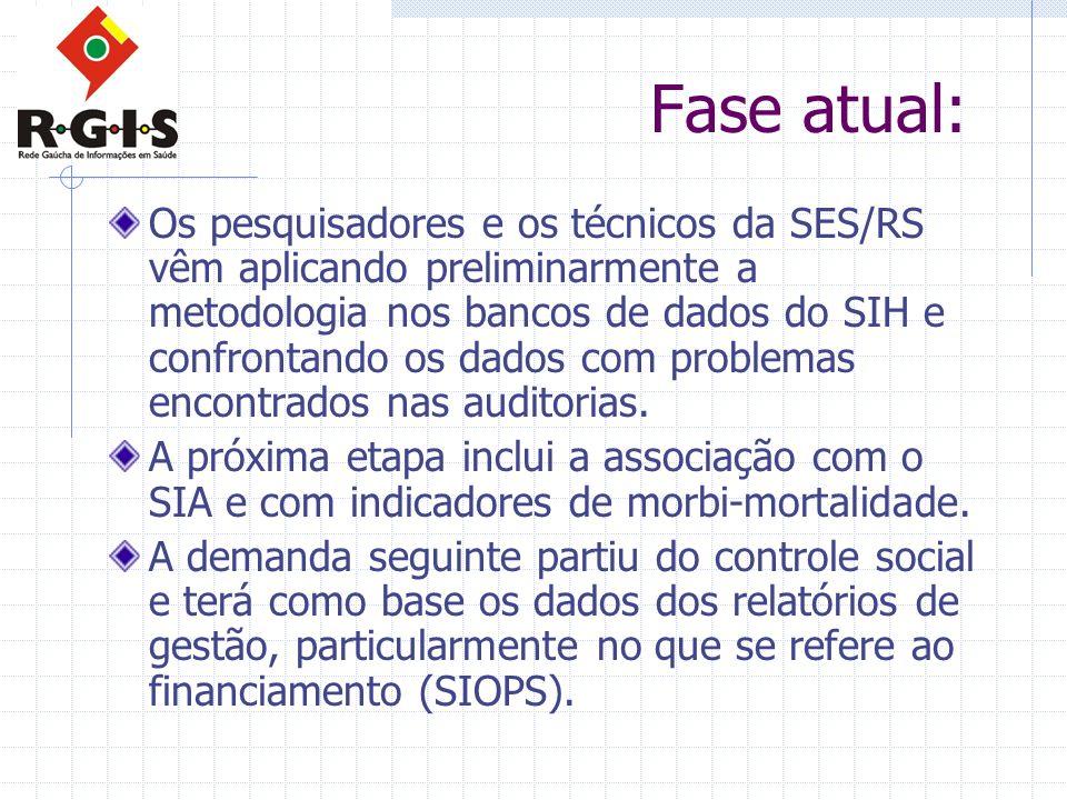Fase atual: Os pesquisadores e os técnicos da SES/RS vêm aplicando preliminarmente a metodologia nos bancos de dados do SIH e confrontando os dados co