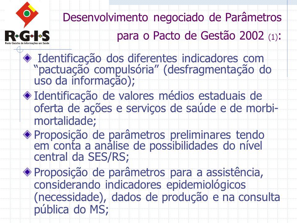 Desenvolvimento negociado de Parâmetros para o Pacto de Gestão 2002 (1) : Identificação dos diferentes indicadores com pactuação compulsória (desfragm