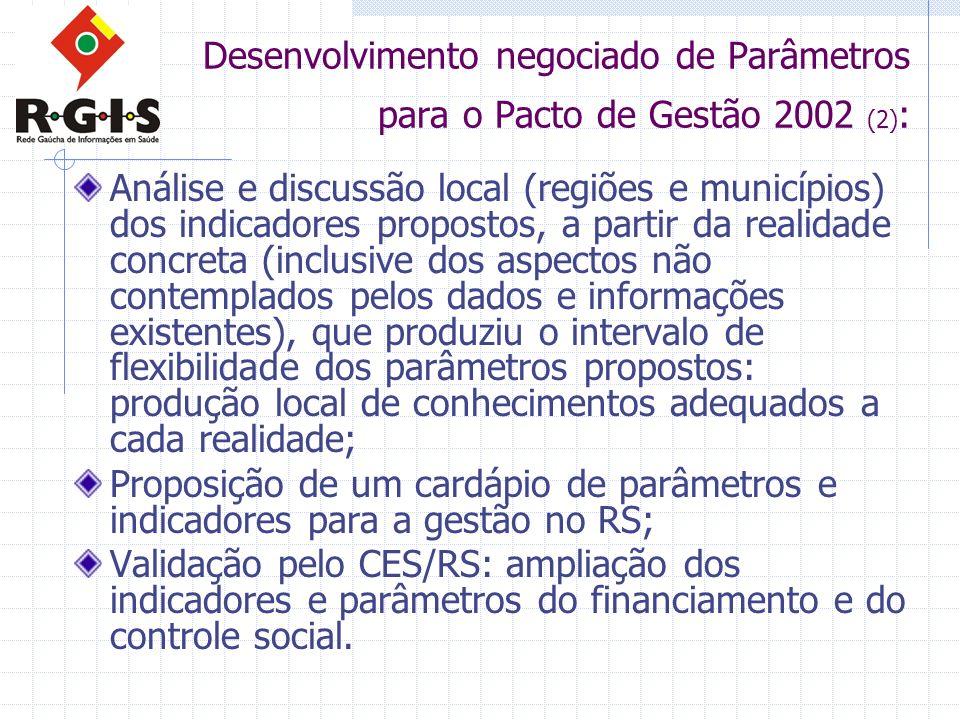 Desenvolvimento negociado de Parâmetros para o Pacto de Gestão 2002 (2) : Análise e discussão local (regiões e municípios) dos indicadores propostos,