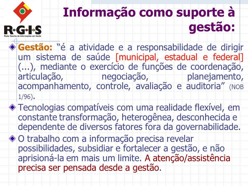 Informação como suporte à gestão: Gestão: é a atividade e a responsabilidade de dirigir um sistema de saúde [municipal, estadual e federal] (...), med