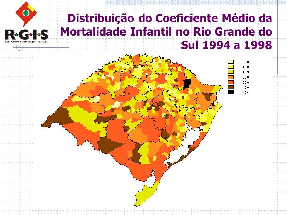 Distribuição do Coeficiente Médio da Mortalidade Infantil no Rio Grande do Sul 1994 a 1998