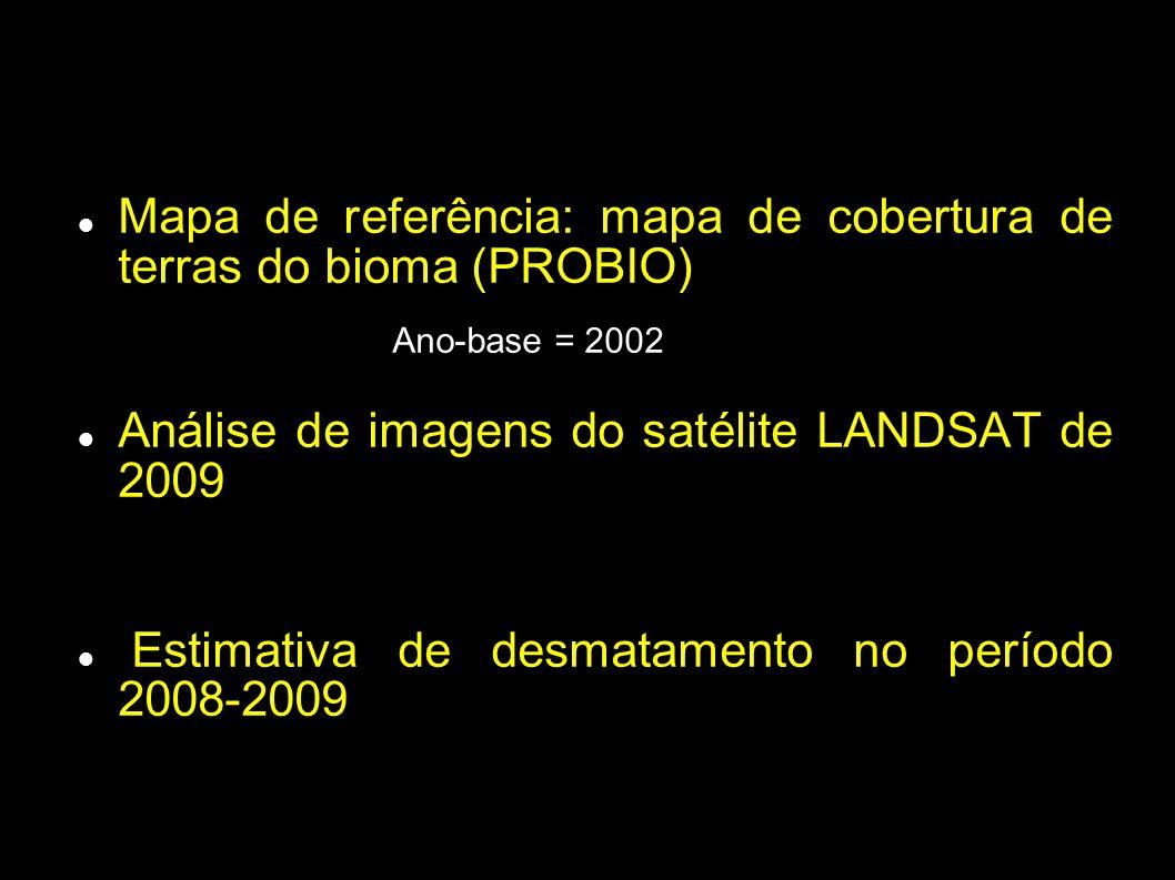 Imagem LANDSAT de 2009 Máscara com desmatamentos antigos Identificação de novas áreas desmatadas Identificação de mudanças na imagem