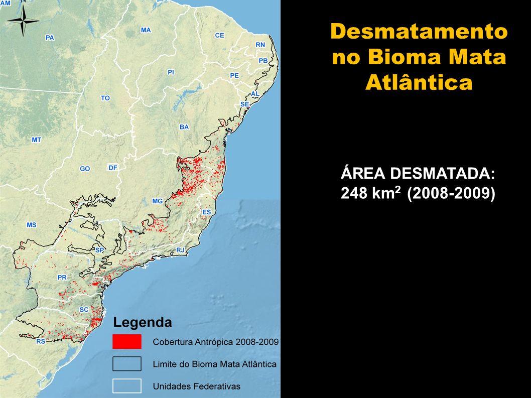 Até 2002 (%) Até 2008 (%) Até 2009 (%) Áreas desmatadas 75,62 (*) 75,8875,90 Vegetação nativa remanescente 22,5422,2522,23 Corpos dágua 1,841,87 Desmatamento acumulado no bioma, tendo como referência a área total do bioma (1.103.961 km²) - Supressão de 2.742 km² entre 2002 e 2008 (0,25% do bioma) - Taxa anual média de supressão entre 2002 e 2008: 457 km 2 (0,04%) - Supressão de 248 km² entre 2008-2009 (0,02% do bioma) (*) Dados ajustados do PROBIO.