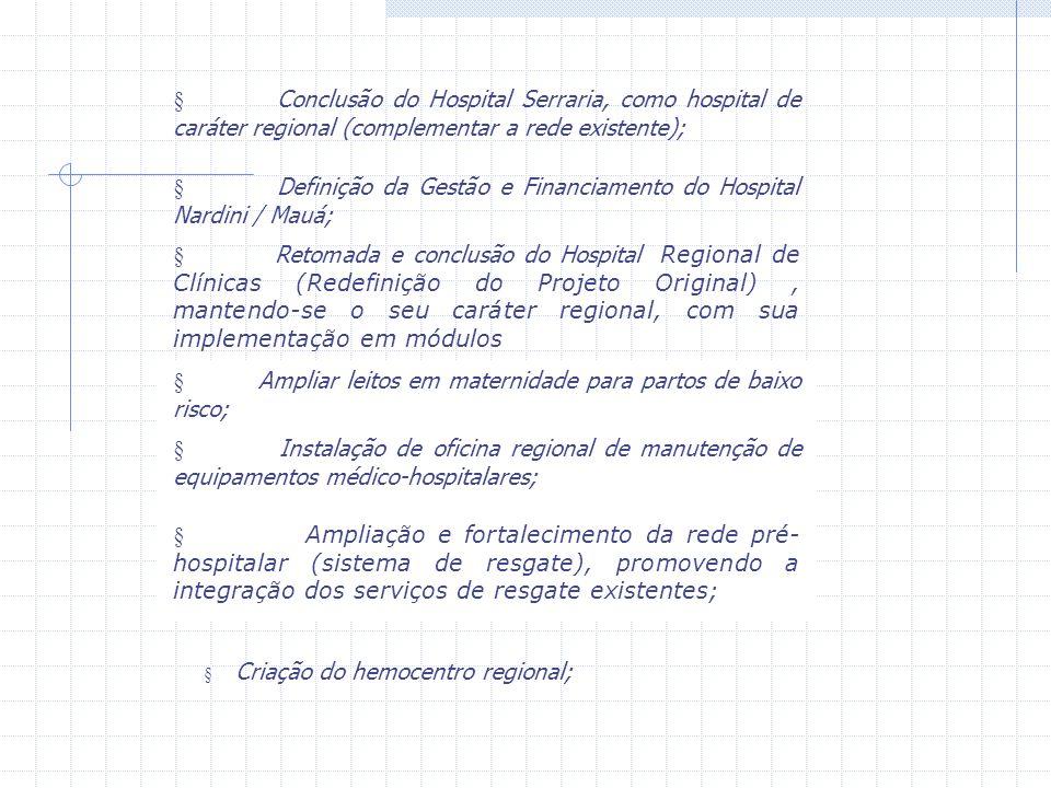 Conclusão do Hospital Serraria, como hospital de caráter regional (complementar a rede existente); Definição da Gestão e Financiamento do Hospital Nar