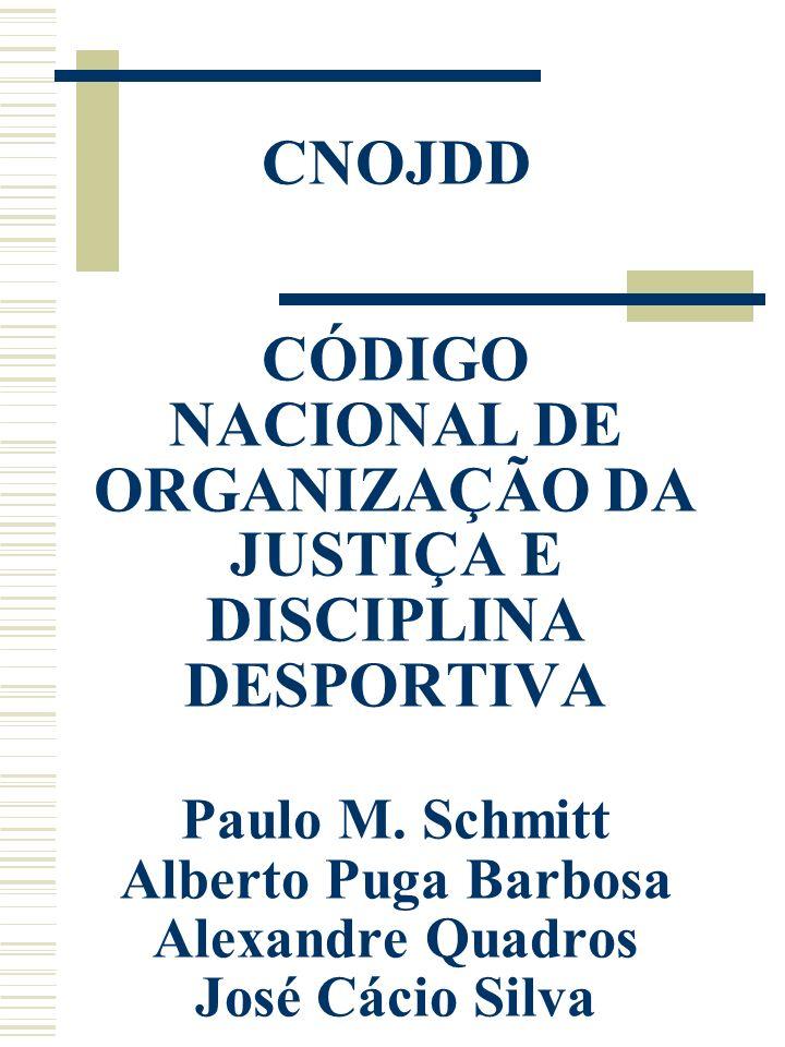 CNOJDD CÓDIGO NACIONAL DE ORGANIZAÇÃO DA JUSTIÇA E DISCIPLINA DESPORTIVA Paulo M. Schmitt Alberto Puga Barbosa Alexandre Quadros José Cácio Silva