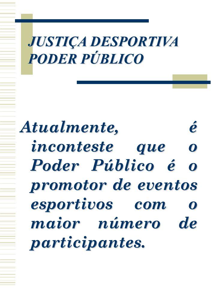 JUSTIÇA DESPORTIVA PODER PÚBLICO Atualmente, é inconteste que o Poder Público é o promotor de eventos esportivos com o maior número de participantes.