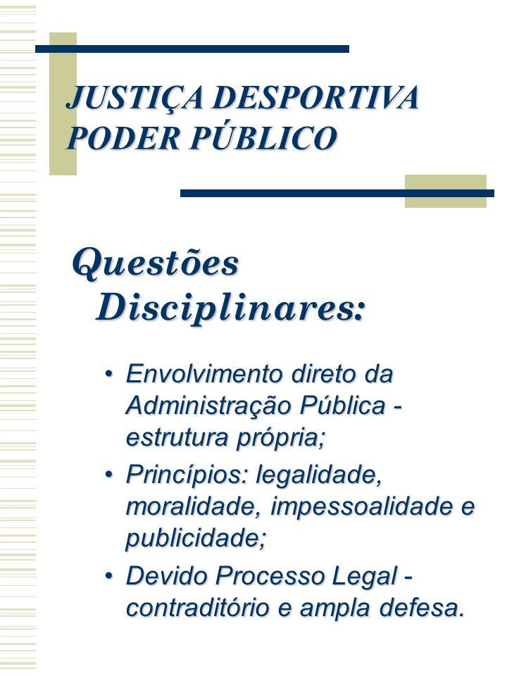 Questões Disciplinares: Envolvimento direto da Administração Pública - estrutura própria;Envolvimento direto da Administração Pública - estrutura próp