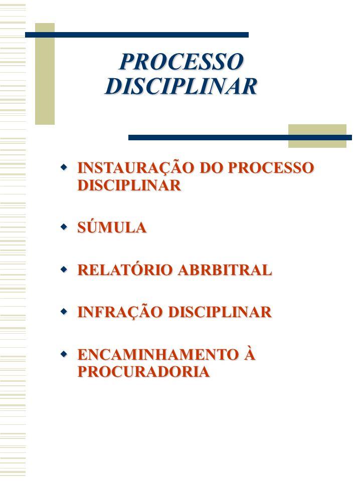 PROCESSO DISCIPLINAR INSTAURAÇÃO DO PROCESSO DISCIPLINAR INSTAURAÇÃO DO PROCESSO DISCIPLINAR SÚMULA SÚMULA RELATÓRIO ABRBITRAL RELATÓRIO ABRBITRAL INF