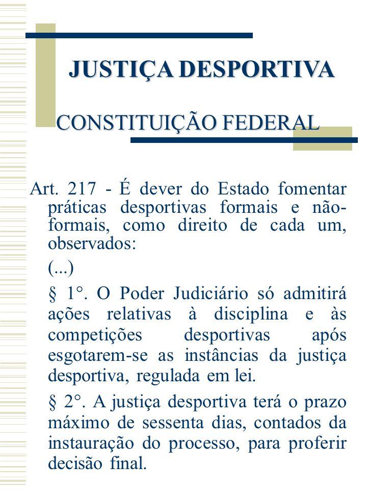 JUSTIÇA DESPORTIVA CONSTITUIÇÃO FEDERAL Art. 217 - É dever do Estado fomentar práticas desportivas formais e não- formais, como direito de cada um, ob