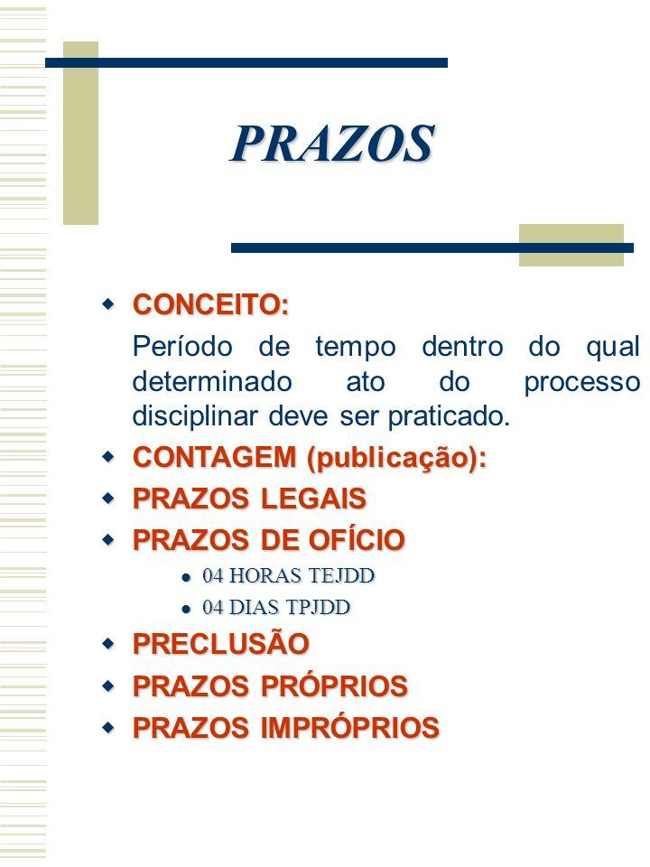 PRAZOS CONCEITO: CONCEITO: Período de tempo dentro do qual determinado ato do processo disciplinar deve ser praticado. CONTAGEM (publicação): CONTAGEM
