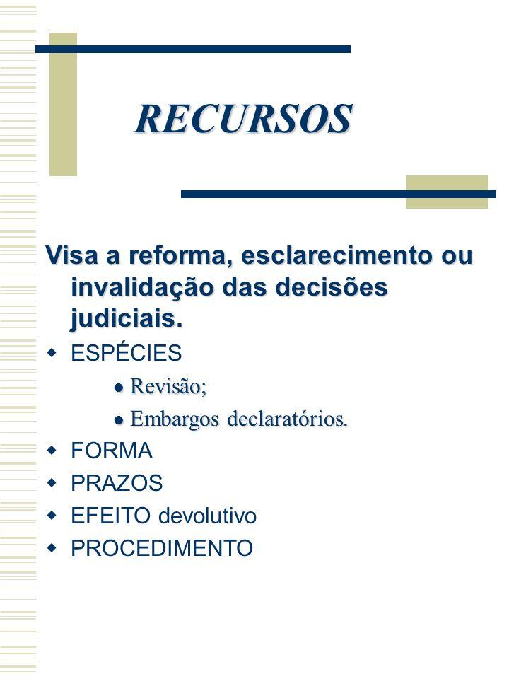 RECURSOS Visa a reforma, esclarecimento ou invalidação das decisões judiciais. ESPÉCIES Revisão; Revisão; Embargos declaratórios. Embargos declaratóri