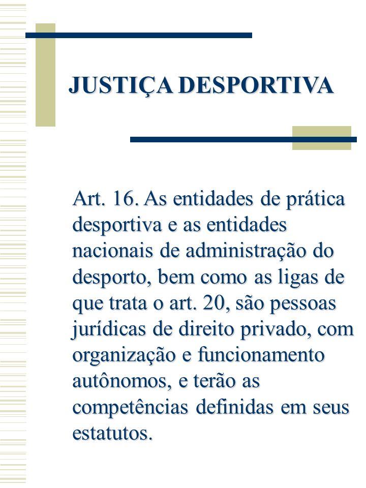 JUSTIÇA DESPORTIVA Art. 16. As entidades de prática desportiva e as entidades nacionais de administração do desporto, bem como as ligas de que trata o