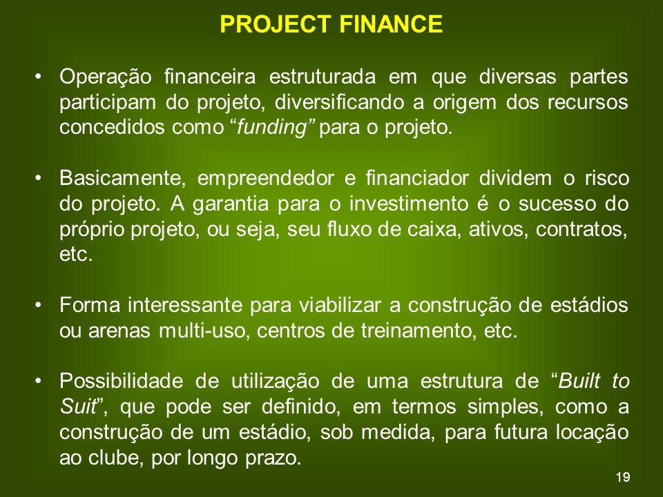 19 PROJECT FINANCE Operação financeira estruturada em que diversas partes participam do projeto, diversificando a origem dos recursos concedidos como funding para o projeto.