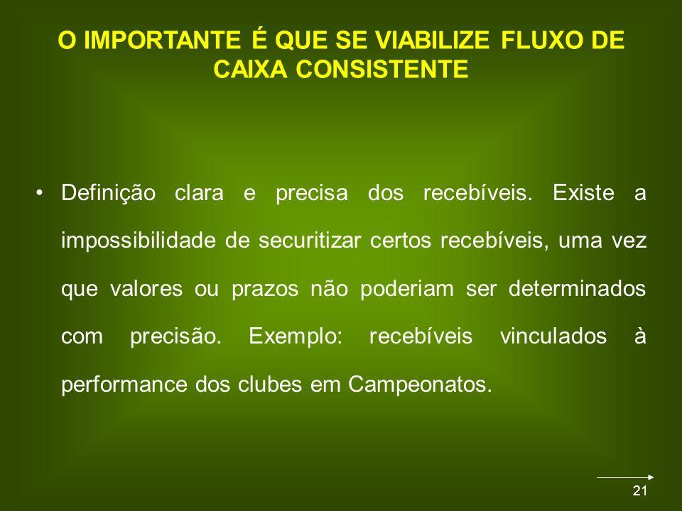 21 O IMPORTANTE É QUE SE VIABILIZE FLUXO DE CAIXA CONSISTENTE Definição clara e precisa dos recebíveis.