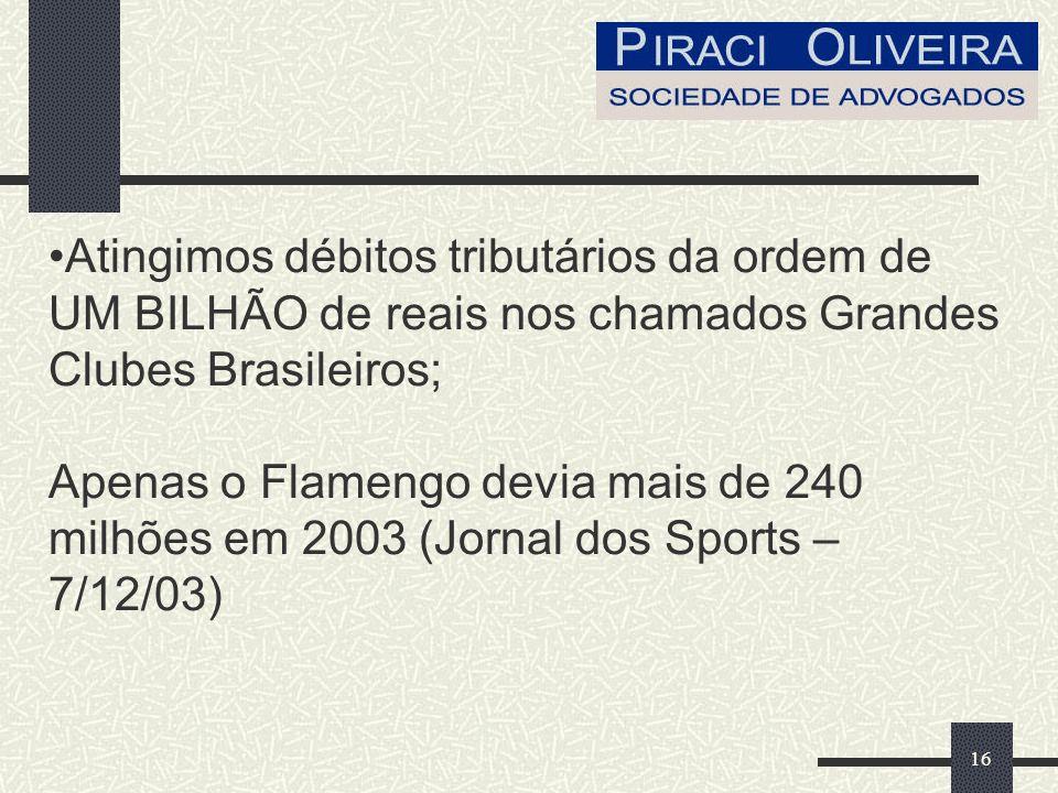 16 Atingimos débitos tributários da ordem de UM BILHÃO de reais nos chamados Grandes Clubes Brasileiros; Apenas o Flamengo devia mais de 240 milhões em 2003 (Jornal dos Sports – 7/12/03)