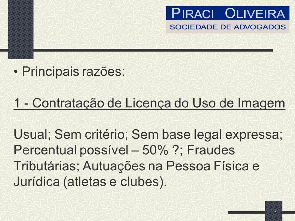 17 Principais razões: 1 - Contratação de Licença do Uso de Imagem Usual; Sem critério; Sem base legal expressa; Percentual possível – 50% ; Fraudes Tributárias; Autuações na Pessoa Física e Jurídica (atletas e clubes).
