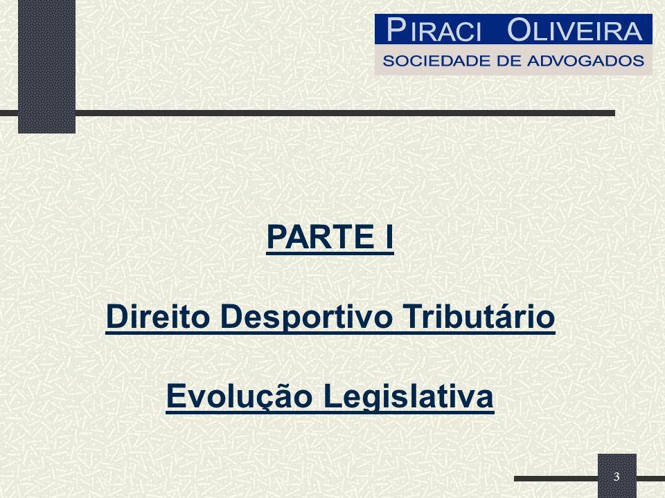 3 PARTE I Direito Desportivo Tributário Evolução Legislativa