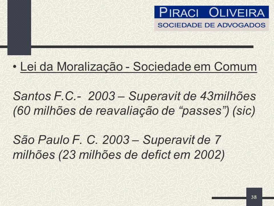 38 Lei da Moralização - Sociedade em Comum Santos F.C.- 2003 – Superavit de 43milhões (60 milhões de reavaliação de passes) (sic) São Paulo F.