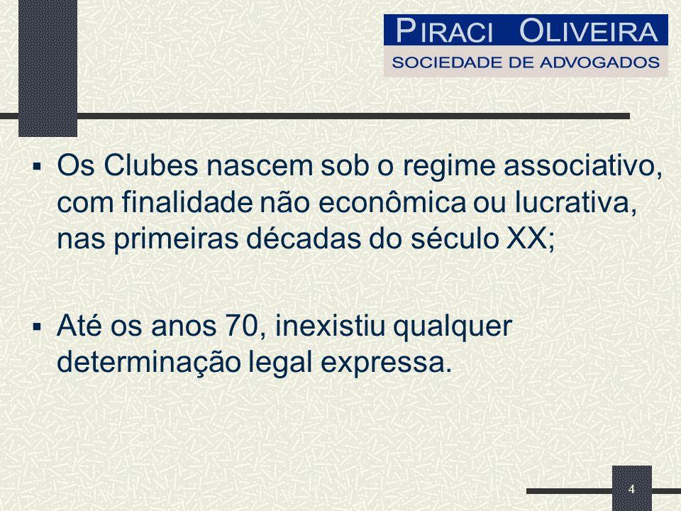 4 Os Clubes nascem sob o regime associativo, com finalidade não econômica ou lucrativa, nas primeiras décadas do século XX; Até os anos 70, inexistiu qualquer determinação legal expressa.