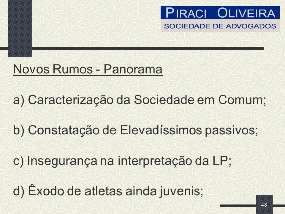 48 Novos Rumos - Panorama a) Caracterização da Sociedade em Comum; b) Constatação de Elevadíssimos passivos; c) Insegurança na interpretação da LP; d) Êxodo de atletas ainda juvenis;