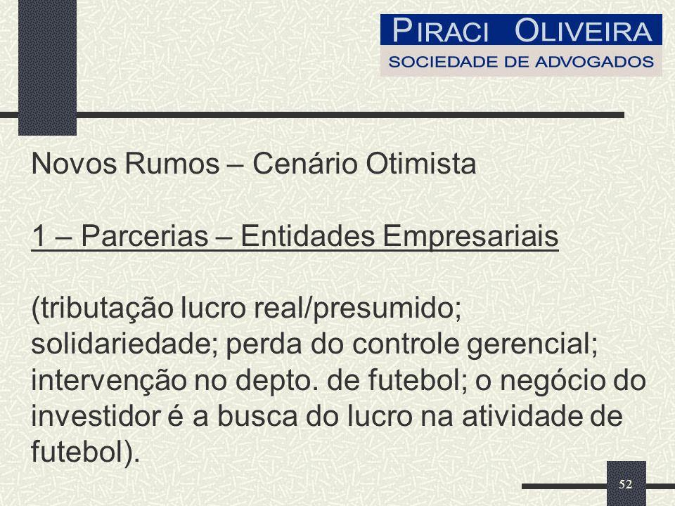 52 Novos Rumos – Cenário Otimista 1 – Parcerias – Entidades Empresariais (tributação lucro real/presumido; solidariedade; perda do controle gerencial; intervenção no depto.