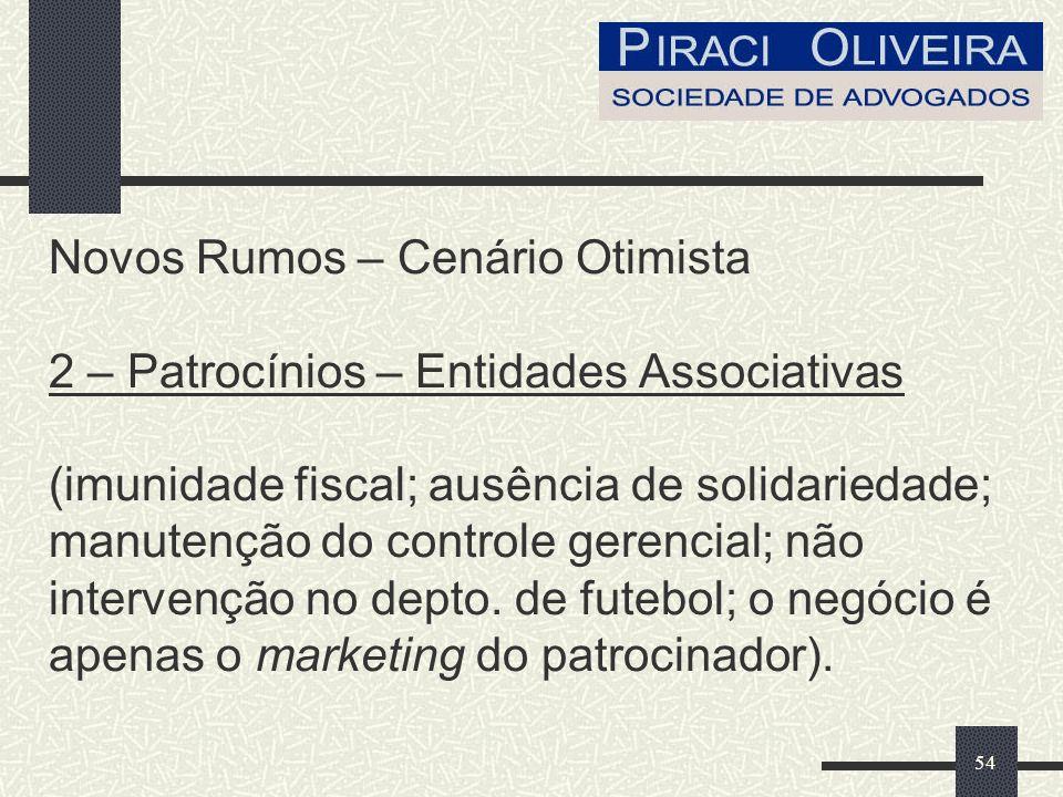 54 Novos Rumos – Cenário Otimista 2 – Patrocínios – Entidades Associativas (imunidade fiscal; ausência de solidariedade; manutenção do controle gerencial; não intervenção no depto.