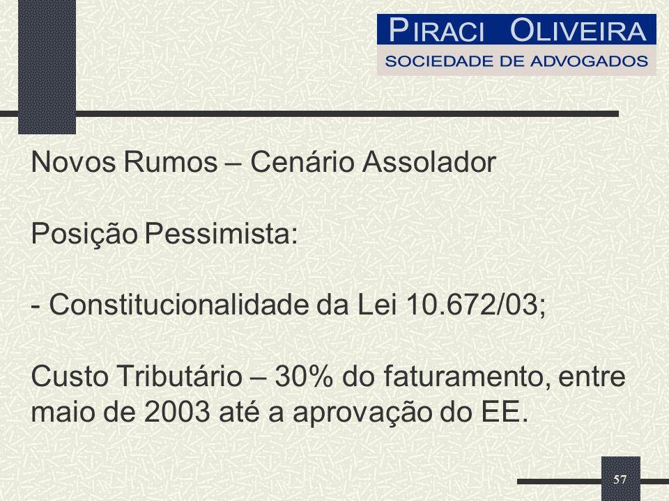 57 Novos Rumos – Cenário Assolador Posição Pessimista: - Constitucionalidade da Lei 10.672/03; Custo Tributário – 30% do faturamento, entre maio de 2003 até a aprovação do EE.