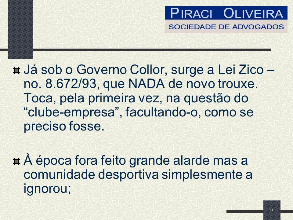 7 Já sob o Governo Collor, surge a Lei Zico – no. 8.672/93, que NADA de novo trouxe.