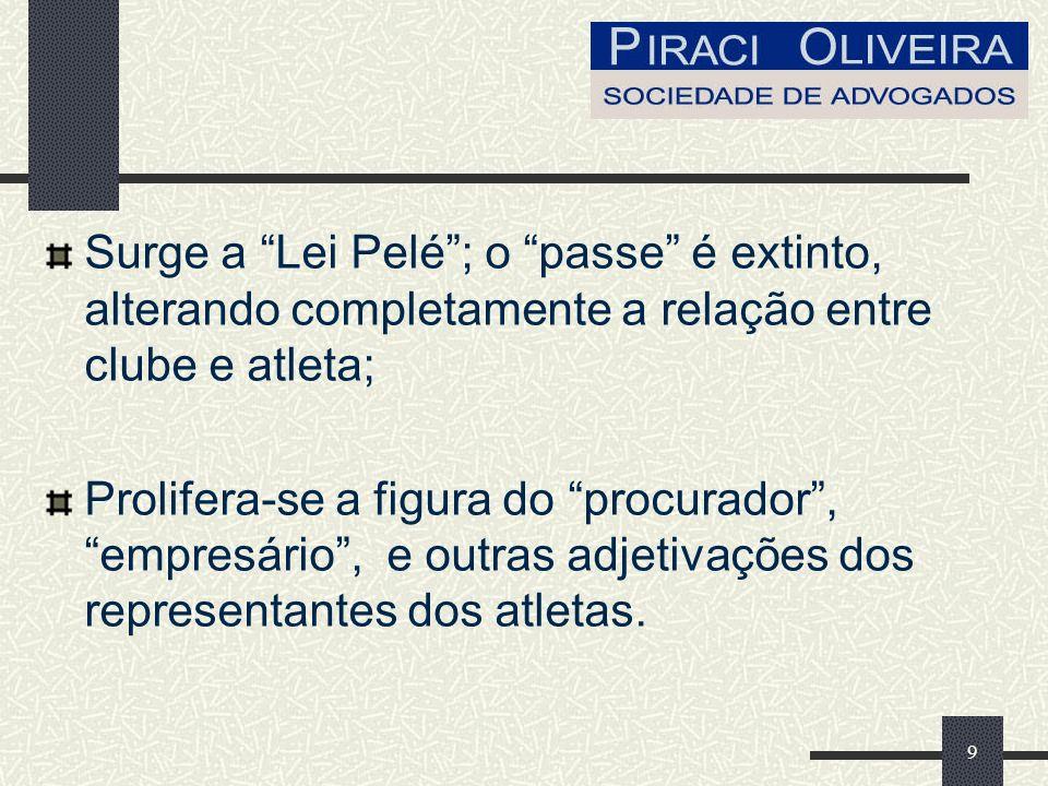 9 Surge a Lei Pelé; o passe é extinto, alterando completamente a relação entre clube e atleta; Prolifera-se a figura do procurador, empresário, e outras adjetivações dos representantes dos atletas.