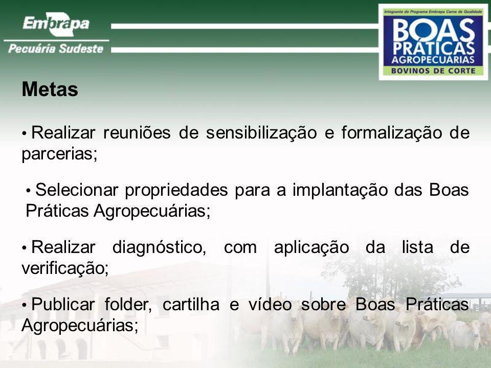 Capacitar trabalhadores e produtores rurais para a utilização de Boas Práticas Agropecuárias; Monitorar/acompanhar a adoção de tecnologia de Boas Prát