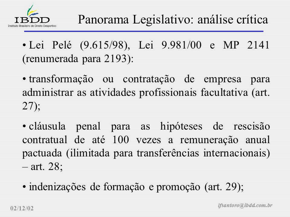 lfsantoro@ibdd.com.br Panorama Legislativo: análise crítica 02/12/02 Lei Pelé (9.615/98), Lei 9.981/00 e MP 2141 (renumerada para 2193): transformação ou contratação de empresa para administrar as atividades profissionais facultativa (art.