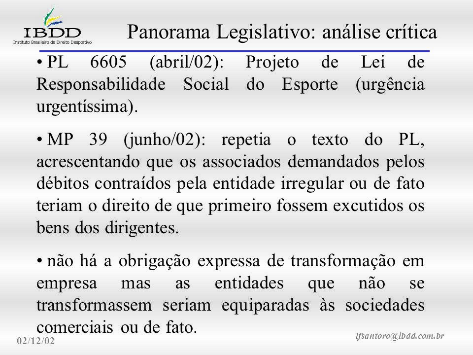 lfsantoro@ibdd.com.br Panorama Legislativo: análise crítica 02/12/02 PL 6605 (abril/02): Projeto de Lei de Responsabilidade Social do Esporte (urgência urgentíssima).