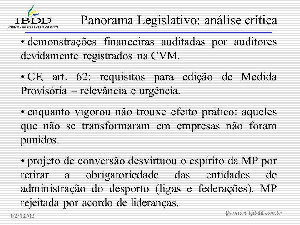lfsantoro@ibdd.com.br Panorama Legislativo: análise crítica 02/12/02 demonstrações financeiras auditadas por auditores devidamente registrados na CVM.
