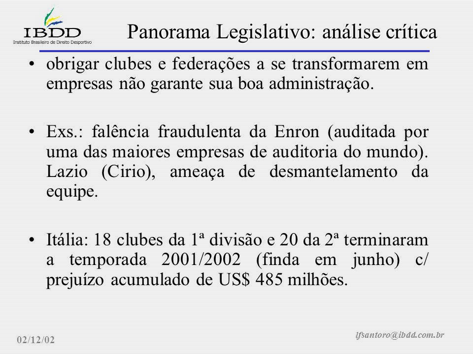 lfsantoro@ibdd.com.br Panorama Legislativo: análise crítica 02/12/02 obrigar clubes e federações a se transformarem em empresas não garante sua boa administração.