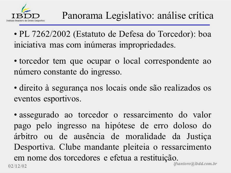 lfsantoro@ibdd.com.br Panorama Legislativo: análise crítica 02/12/02 PL 7262/2002 (Estatuto de Defesa do Torcedor): boa iniciativa mas com inúmeras impropriedades.