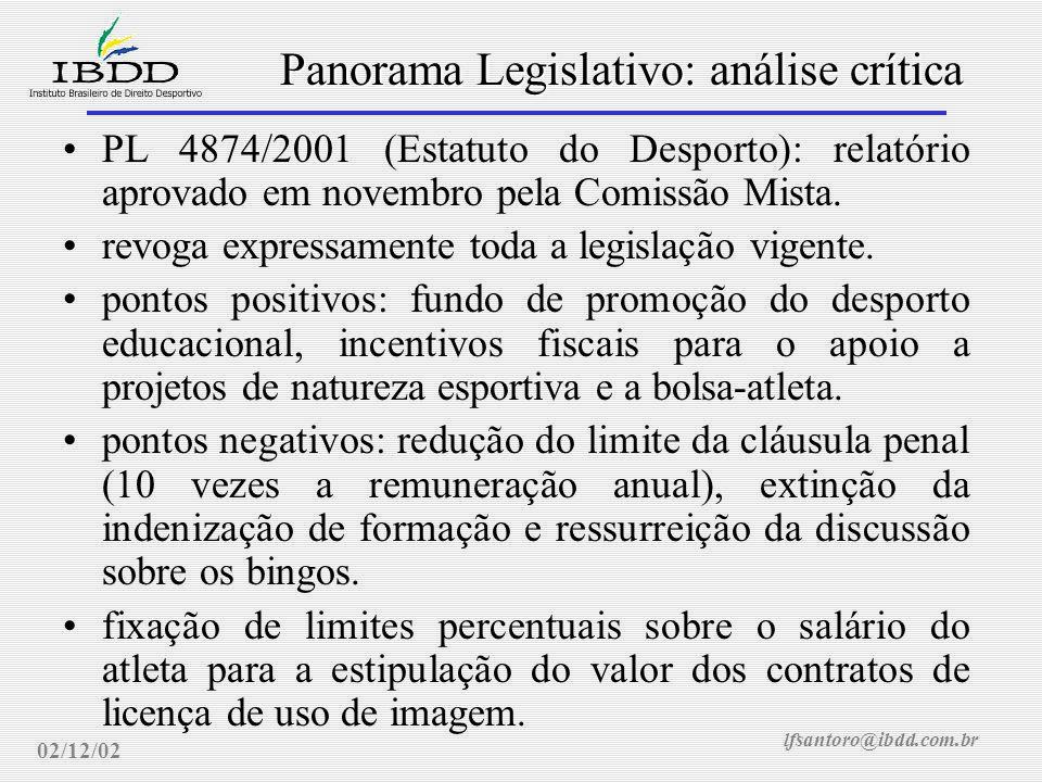 lfsantoro@ibdd.com.br Panorama Legislativo: análise crítica 02/12/02 PL 4874/2001 (Estatuto do Desporto): relatório aprovado em novembro pela Comissão Mista.