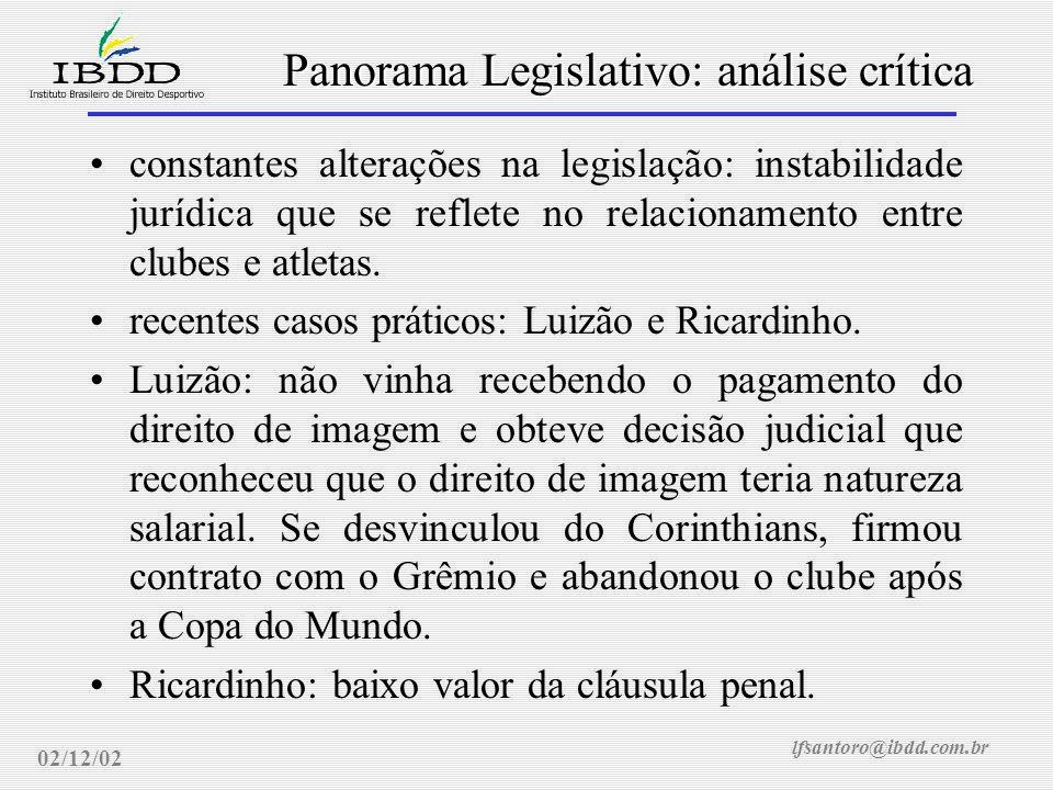 lfsantoro@ibdd.com.br Panorama Legislativo: análise crítica 02/12/02 constantes alterações na legislação: instabilidade jurídica que se reflete no relacionamento entre clubes e atletas.