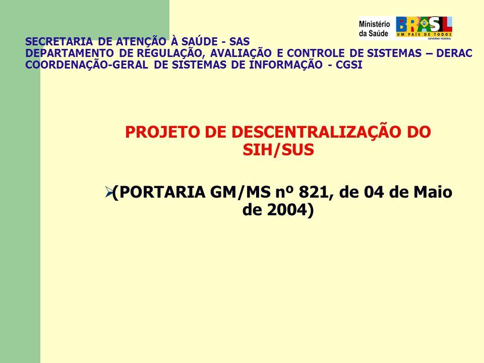 PROJETO DE DESCENTRALIZAÇÃO DO SIH/SUS (PORTARIA GM/MS nº 821, de 04 de Maio de 2004)
