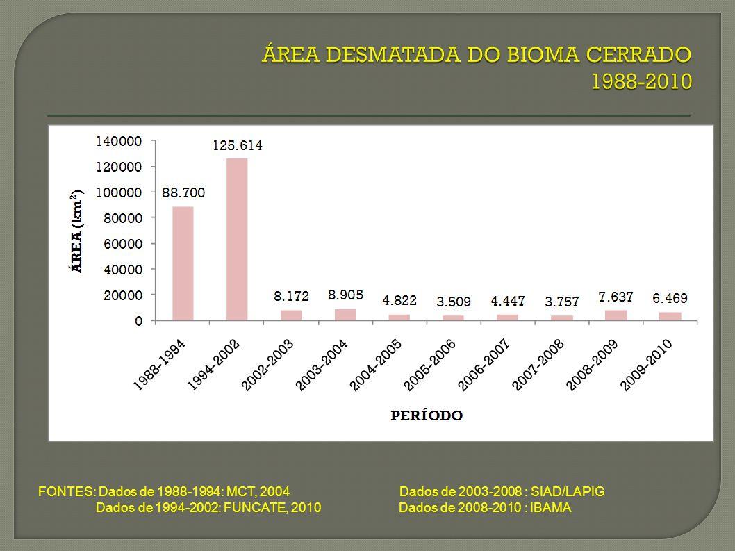 FONTES: Dados de 1988-1994: MCT, 2004 Dados de 2003-2008 : SIAD/LAPIG Dados de 1994-2002: FUNCATE, 2010 Dados de 2008-2010 : IBAMA