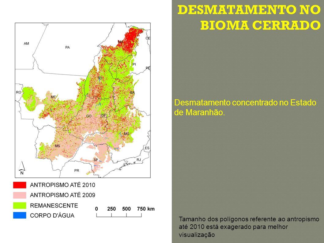 DESMATAMENTO NO BIOMA CERRADO Tamanho dos polígonos referente ao antropismo até 2010 está exagerado para melhor visualização Desmatamento concentrado no Estado de Maranhão.