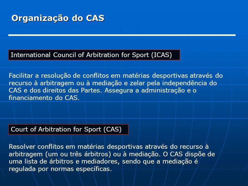Organização do CAS International Council of Arbitration for Sport (ICAS) Court of Arbitration for Sport (CAS) Facilitar a resolução de conflitos em ma