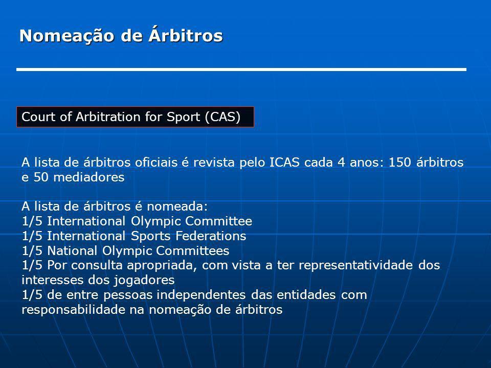 Nomeação de Árbitros Court of Arbitration for Sport (CAS) A lista de árbitros oficiais é revista pelo ICAS cada 4 anos: 150 árbitros e 50 mediadores A